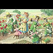 Mainzer Dressed Cats Postcard - Gardening