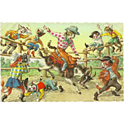 Mainzer Dressed Cats Postcard - Rodeo on Bucking Goat