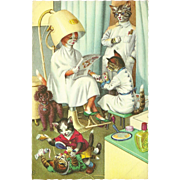 Mainzer Dressed Cats Postcard - Under Hair Dryer in Beauty Shop