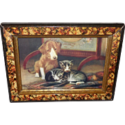 John Dolph Early 1900 Calendar Print of Puppy with Kittens