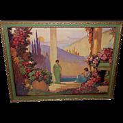 Vladimir Pavlosky Melody of Love Art Deco Style Women in Fantasy Garden