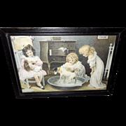 Van Houten's Cocoa Advertising Print of Girls with Dog