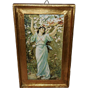 Art Nouveau Style Lady in Blue with Flowers - Gold Wood Frame
