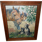 Vintage Calendar Print of Good Friends - Horses and Dogs