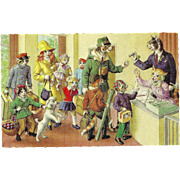 Mainzer Dressed Cats Postcard - Checking into Hotel
