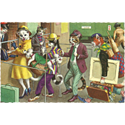 Mainzer Dressed Cats Postcard - Buying Travel Tickets