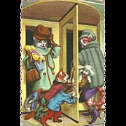 Mainzer Dressed Cats Postcard - Swinging Door