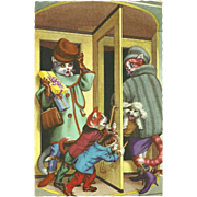 Mainzer Dressed Cats Postcard - Swinging Door