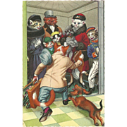 Mainzer Dressed Cats Postcard - Crowded Elevator