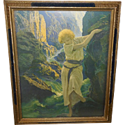 Maxfield Parrish The Canyon Reinthal & Newman NY - Blue and Gold Frame