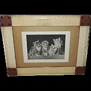 Julius Adam Four Kittens in Folk Art Frame - Perry Pictures