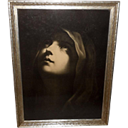 Vintage Print of Madonna Waiting for the Word - Gray Frame
