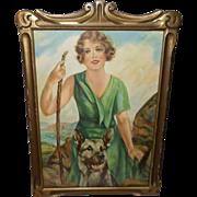 Artist Signed Vintage Print of Woman with German Shepherd Dog