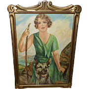 Artist Signed Vintage Print of Woman with German Shepherd Dog