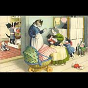 Max Kunzli Dressed Cats Postcard by Mainzer - Feeding Baby Kitten