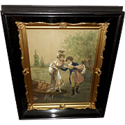 Ornate Shadow Box with Watercolor of Romantic Couple