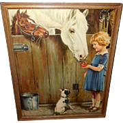 Vintage Calendar Print of Farm Friends - Girl with Dog and Horses