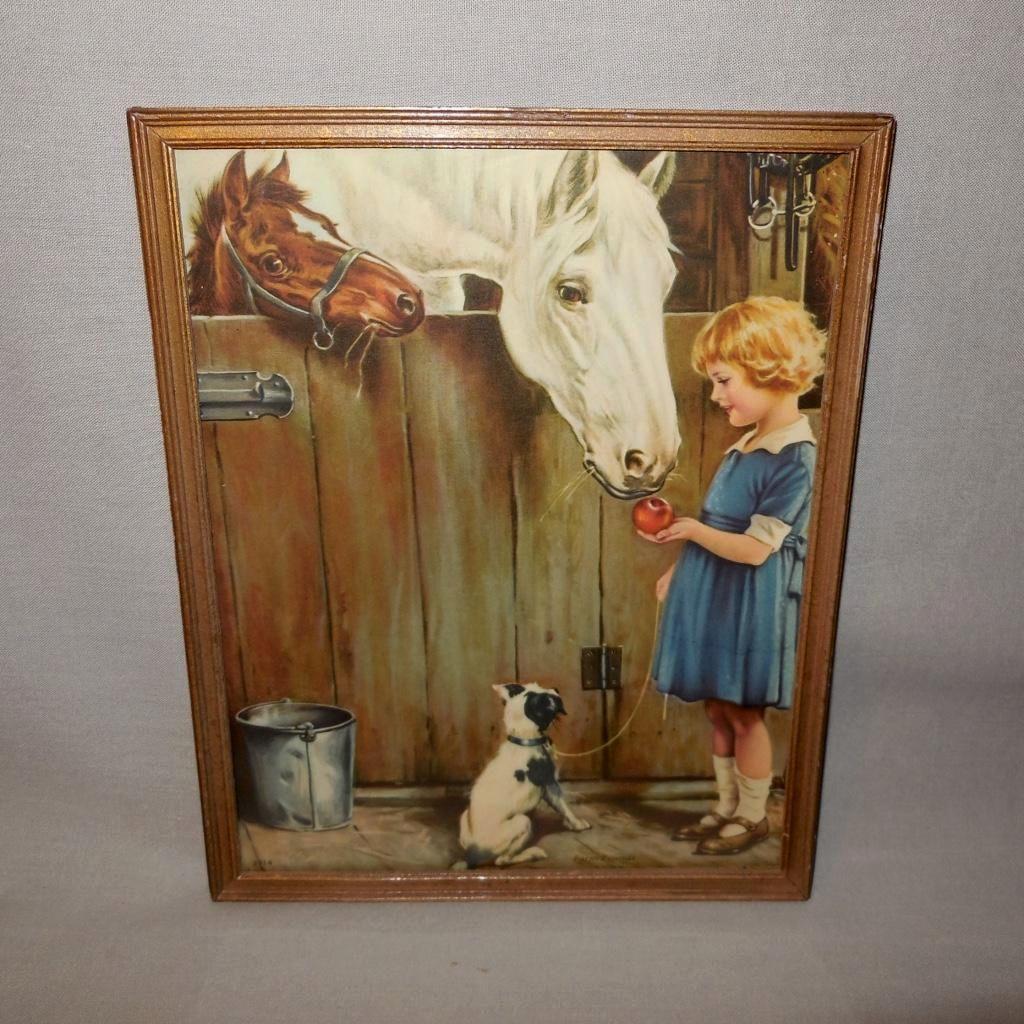 Vintage Calendar Girl Art : Charles relyea vintage calendar print of farm friends