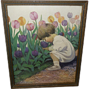 Jessie Willcox Smith Vintage Campbell Print of Young Girl Picking Tulips