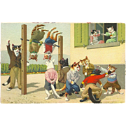 Max Kunzli Dressed Cats Postcard by Mainzer - Playground Exercise - Red Tag Sale Item