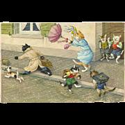 Max Kunzli Dressed Cats Postcard by Mainzer - Windstorm