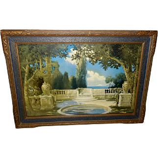 R. Atkinson Fox Lithograph of The Magic Pool - Blue and Gold Frame