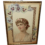 Chromolithograph Die Cut of Beautiful Blonde with Pansies