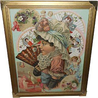 Collage of Die Cuts and Scrapbook Pieces in Gold Frame