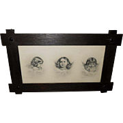 Three Cherubs Copyright 1904 in Dark Wood Frame