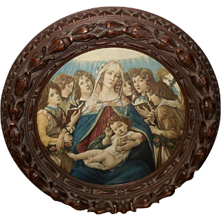 Carved Wood Frame with the Madonna of the Pomegranate by Botticelli