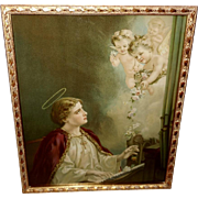 Chromolithograph of Saint Cecelia with Angels