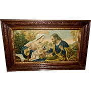 Vintage Print of the Holy Family in Carved Wood Frame