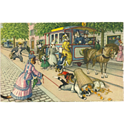 Max Kunzli Dressed Cats Postcard by Mainzer - Horse Drawn Street Car