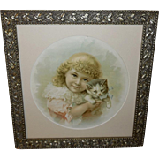 Chromolithograph of Girl with Kitten in Aesthetic Frame