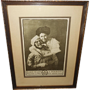 Romantic Masonic 1908 Print in Wood Frame