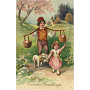 PFB Embossed Easter Postcard with Children and Lamb