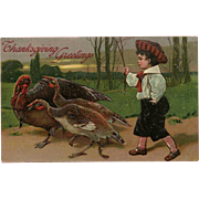 PFB Embossed Thanksgiving Postcard with Boy and Turkeys