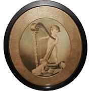 Two Cherubs with Harp Vintage Print in Oval Frame