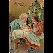 PFB Embossed 1907 Christmas Postcard with Two Girls