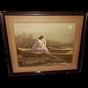 Zula Kenyon Vintage Print of Woman Alone in Boat