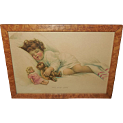 Bessie Pease Gutmann Print of The New Love - Girl with Doll and Teddy Bear - Tiger Maple Frame