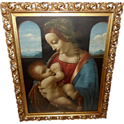 Chromolithograph of Madonna Feeding Jesus - Gesso and Wood Frame