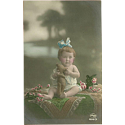 Tinted Photo Postcard of Child with Teddy Bear