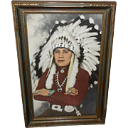 Vintage Hand Colored Frasher Photo Print of Native American Indian Chief in Carved Frame