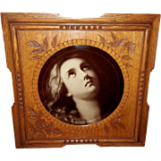 Carved Wood Frame with Mary Magdalene Vintage Sepia Print