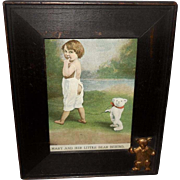 Small Frame with Attached Bear and Old Postcard