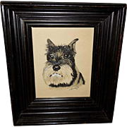 Folk Art Watercolor of Schnauzer Dog - Red Tag Sale Item