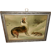 Small Vintage Print of Found by Schenck - Collie and Lamb