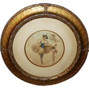 Lovely Hand Colored Ballerina with Cherubs - Ornate Frame