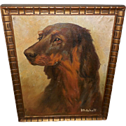Folk Art Painting of Setter Dog by Mitchell